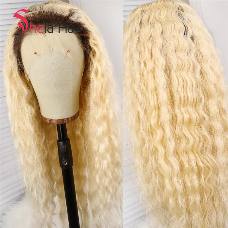 Dark Root Blonde Transparent Lace Front Wig Deep Wave