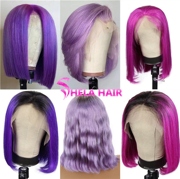 Purple Color Bob Wig Transparent Lace Human Hair Wig