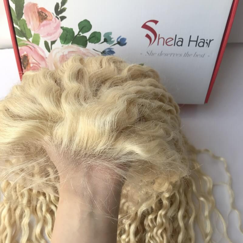 Shela Hair Transparent Full Lace Wig #613 Blonde 150% Density Kinky Curly