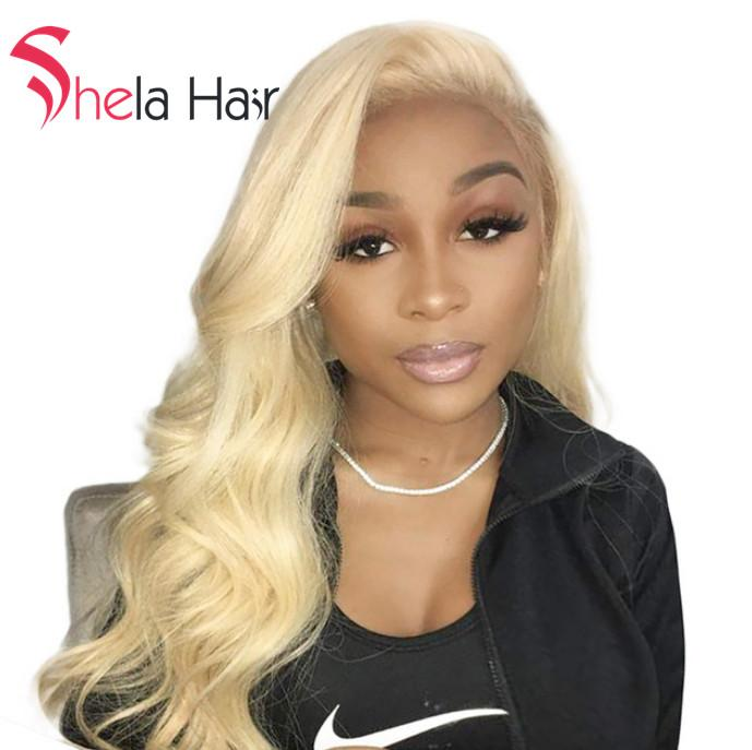 Transparent Full Lace Wig #613 Blonde Body Wave 150% Density Shela Hair