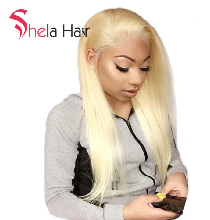 Transparent Full Lace Wig #613 Blonde Straight 150% Density Shela Hair