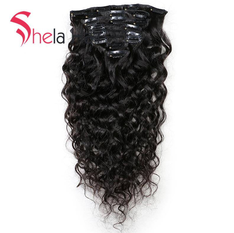 Shela Hair Clip In Human Hair Extensions Natural Water Wave 120G Natural Color 8 Pieces/Set Free Shipping