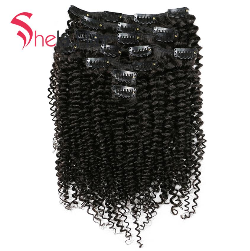 Shela Hair Clip In Human Hair Extensions Kinky Curly 120G Natural Color 8 Pieces/Set Free Shipping