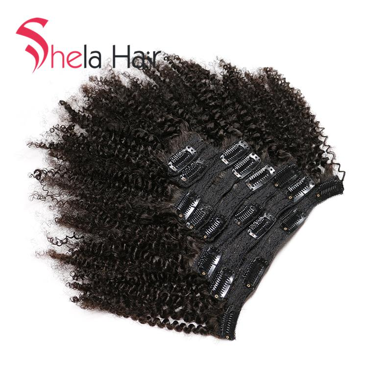 Clip In Human Hair Extensions Afro Kinky Curly 120G Natural Color 8 Pieces/Set