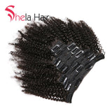 Shela Hair Clip In Human Hair Extensions Afro Kinky Curly 120G Natural Color 8 Pieces/Set Free Shipping