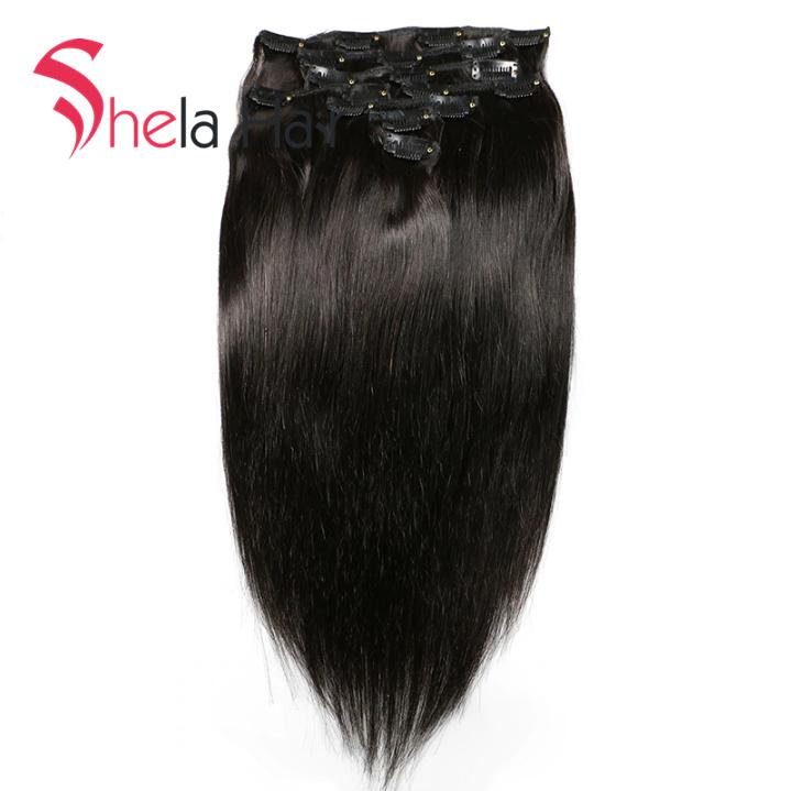 Shela Hair Clip In Human Hair Extensions Straight 120G Natural Color 8 Pieces/Set Free Shipping