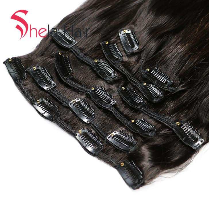 Clip In Human Hair Extensions Straight 120G Natural Color 8 Pieces/Set