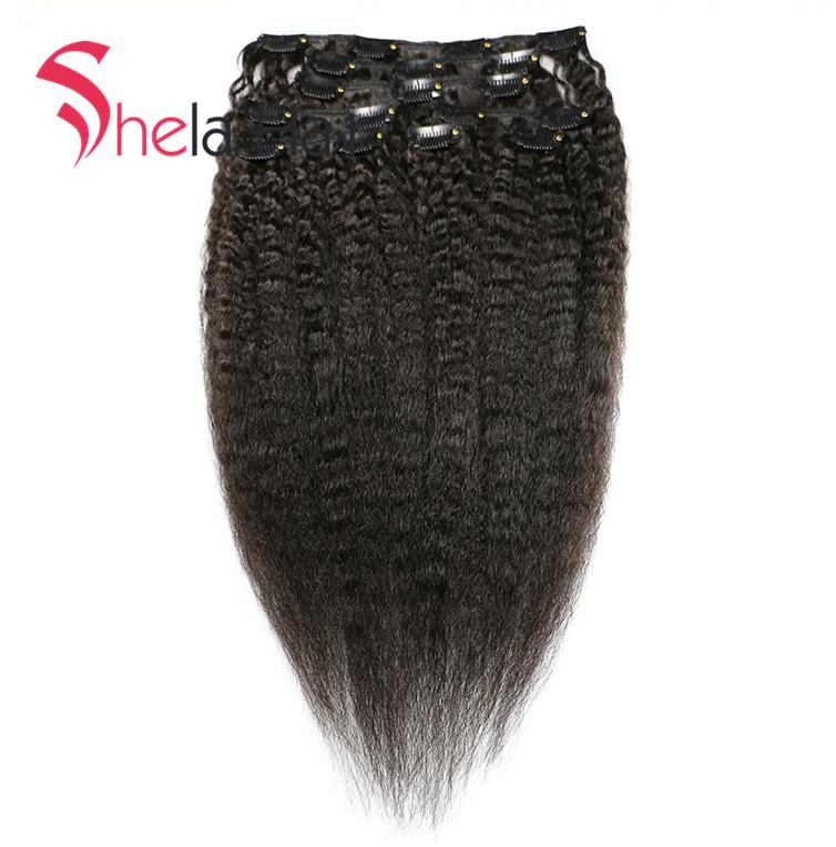 Shela Hair Clip In Human Hair Extensions Kinky Straight 120G Natural Color 8 Pieces/Set Free Shipping