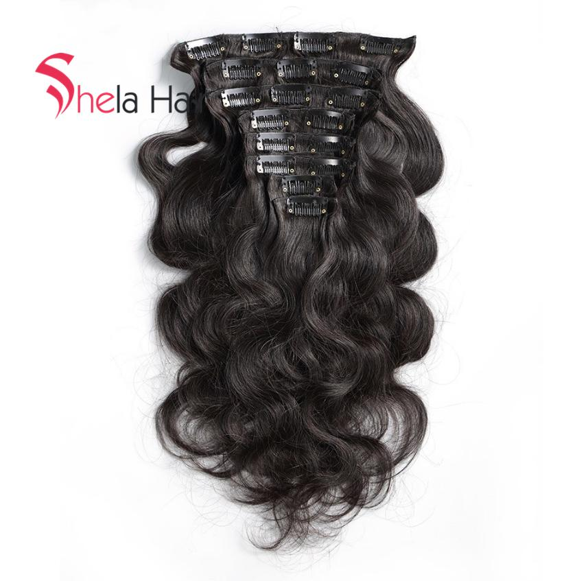 Shela Hair Clip In Human Hair Extensions Body Wave 120G Natural Color 8 Pieces/Set Free Shipping