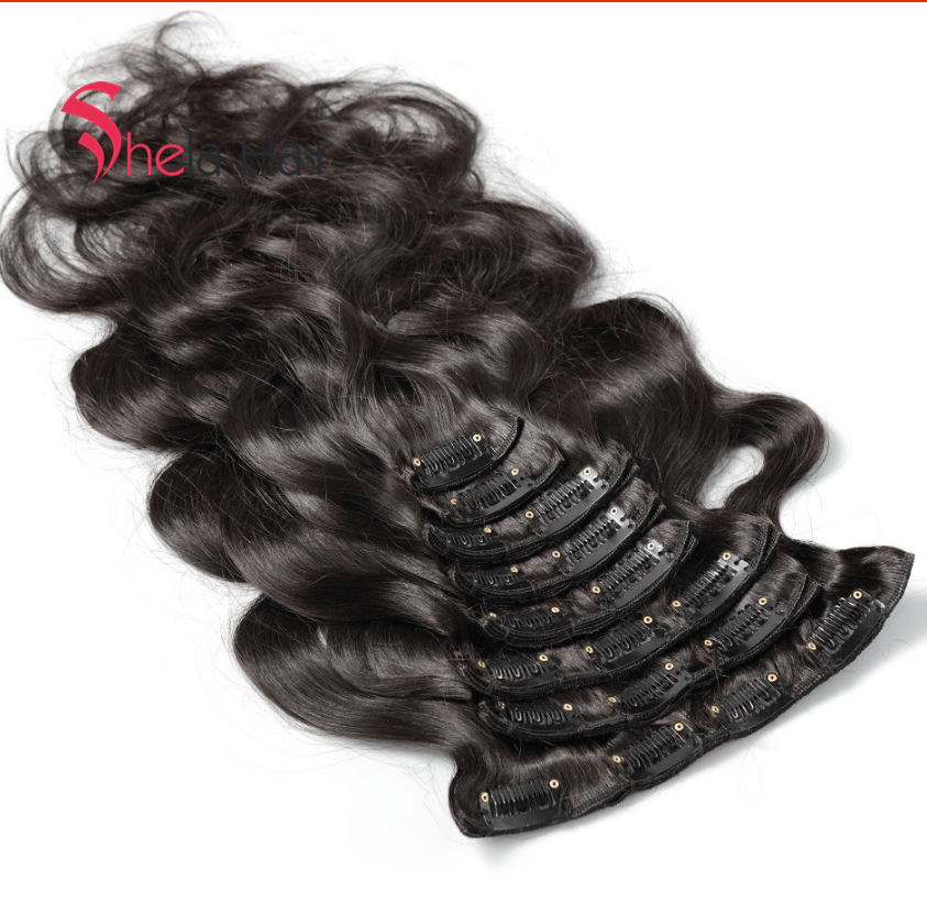Clip In Human Hair Extensions Body Wave 120G Natural Color 8 Pieces/Set