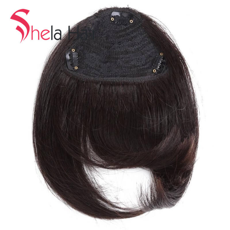 Shela Hair 8inch Bang Clip In Human Hair Extensions Straight 20g