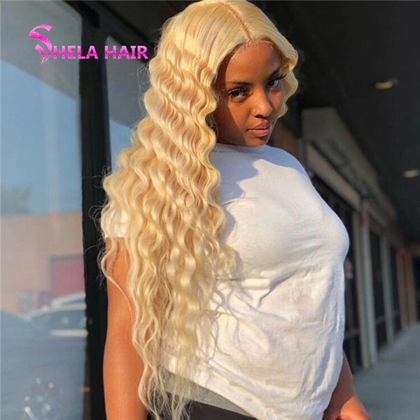 Transparent Lace Front Wig Ocean Deep 180% 200% High Density #613 Blonde Wigs Shela Hair