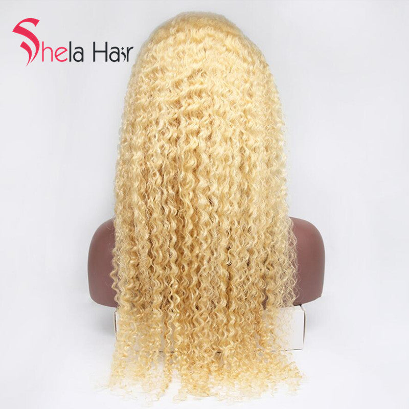 Transparent Full Lace Wig #613 Blonde 150% 180% Density Big Curly Shela Hair