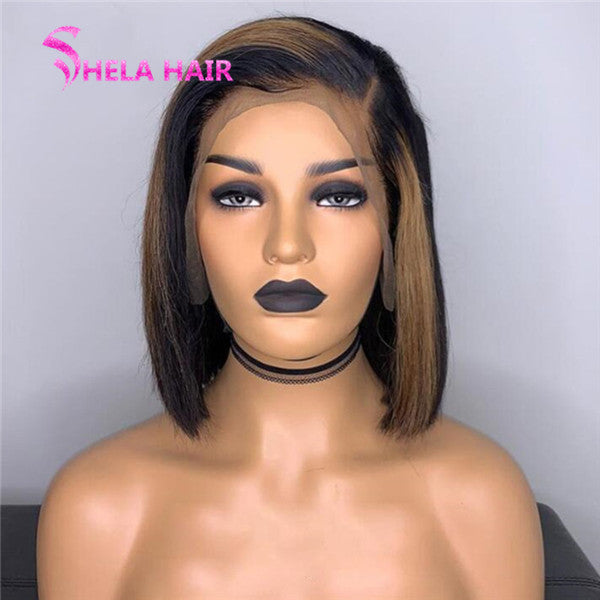 Side Part Highlight Black with Brown Lace Front Wig/ Full Lace Wig Straight Bob Wig