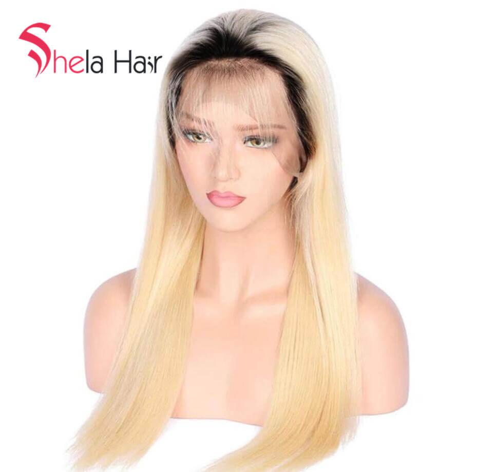 Ombre Black Root 1b/613 Transparent Full Lace Wig 180% 200% high density Straight