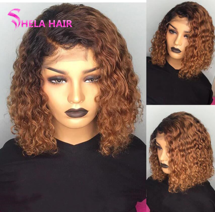 Deep Wave Ombre Highlight Bob Lace Closure/ Frontal Wig
