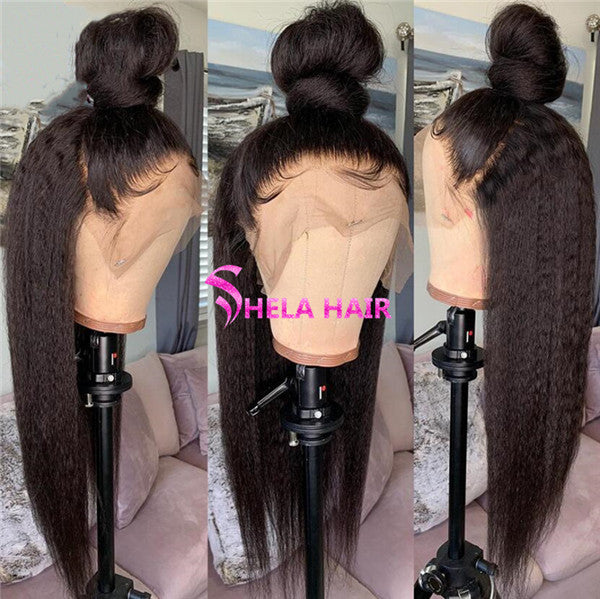 Kinky Straight Preplucked Full 360 Lace Wig