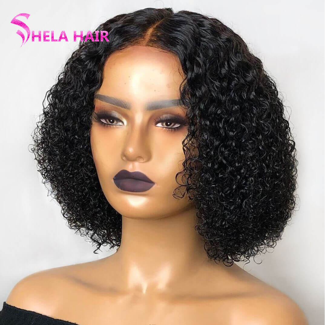 Tiny Curl Bob Lace Closure/Front Wig 180% High Density