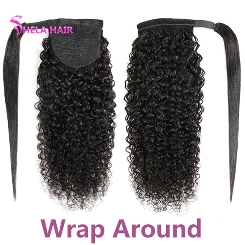 Pony Tail Wrap Around / Drawstring Kinky Curly Ponytail Human Hair
