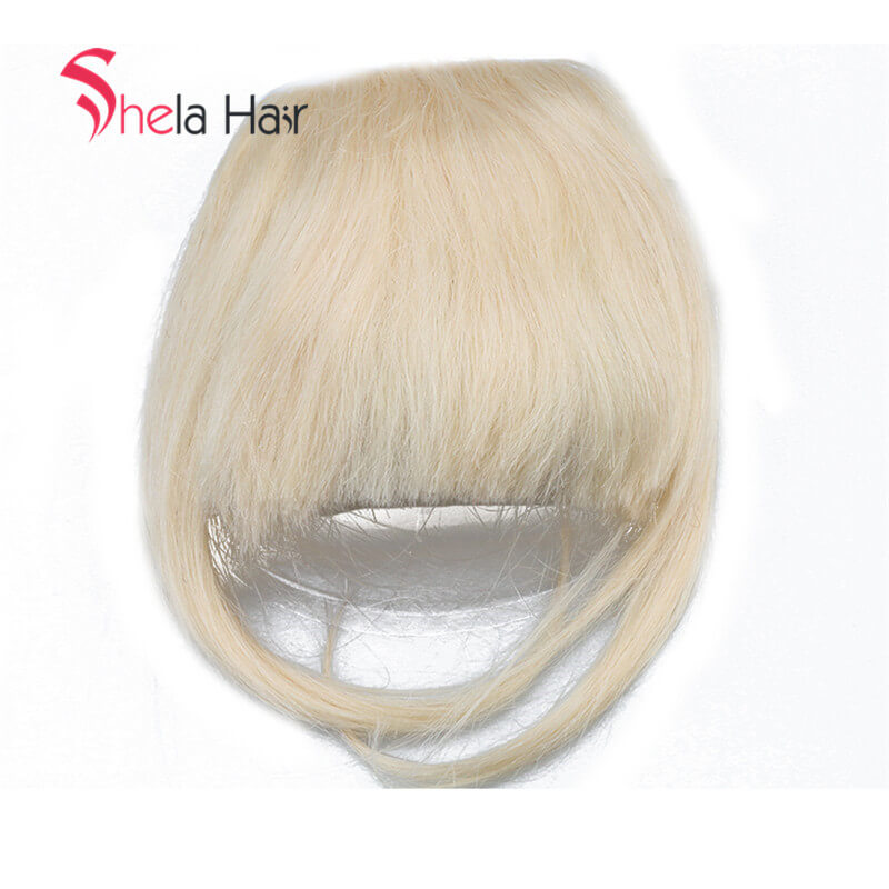 Black/ Blonde 8inch Bang Clip In Human Hair Extensions