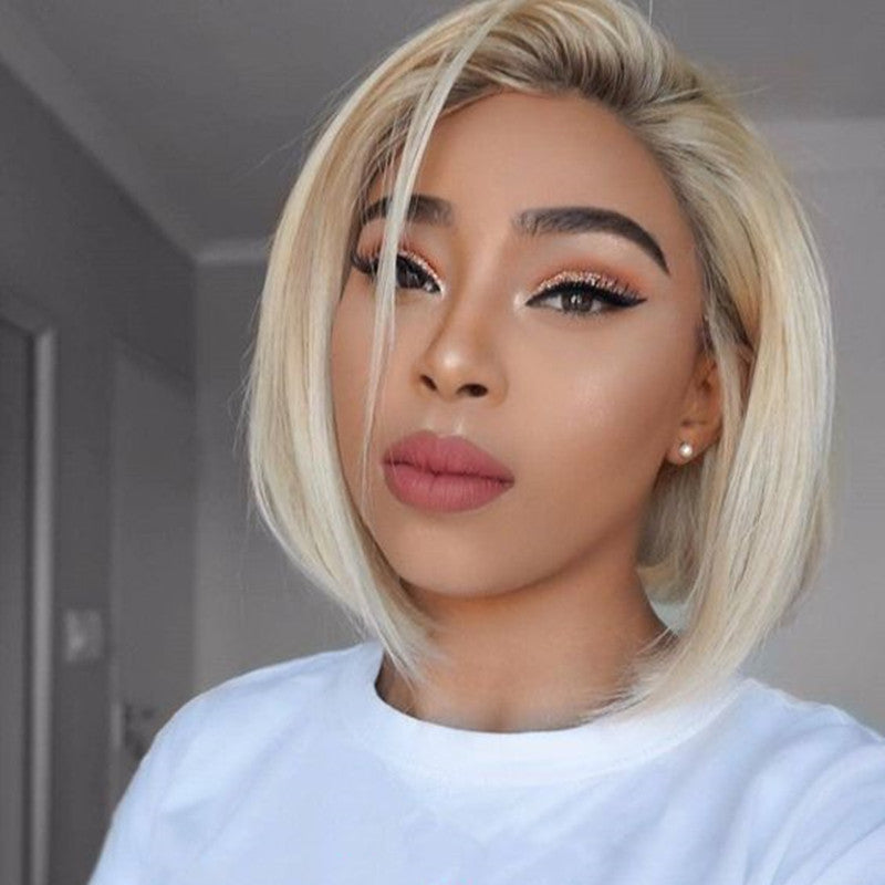 Light Dirty Root Blonde Bob Wig Transparent Lace Front Wig
