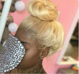 Can do bun, ponytail, Transparent 360 Lace Wig, 180% 200% High Density, #613 Blonde Straight