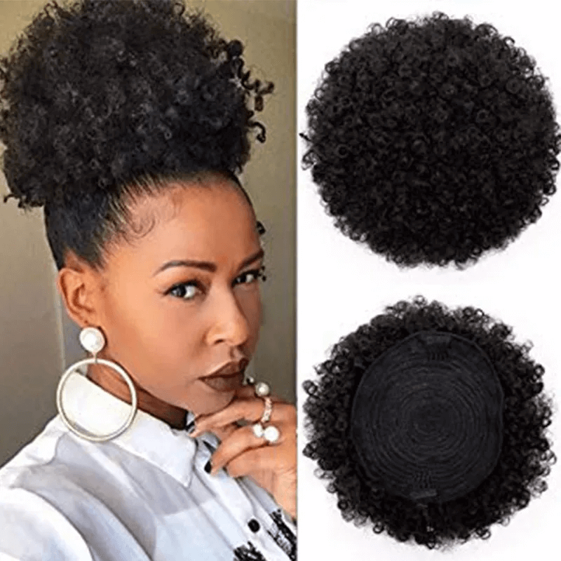 Afro Puff Pony Tail Drawstring Human Hair For African American