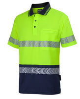 JB's Hi Vis Short Sleeve (D+N) Cotton Back Segmented Tape Polo