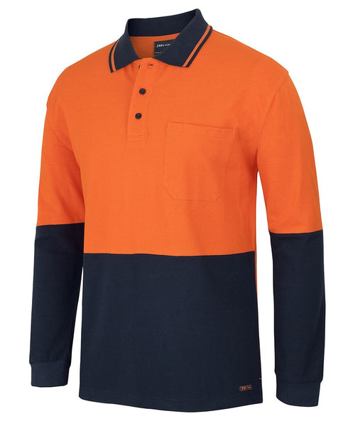 JB's Hi Vis Long Sleeve Cotton Pique Traditional Polo
