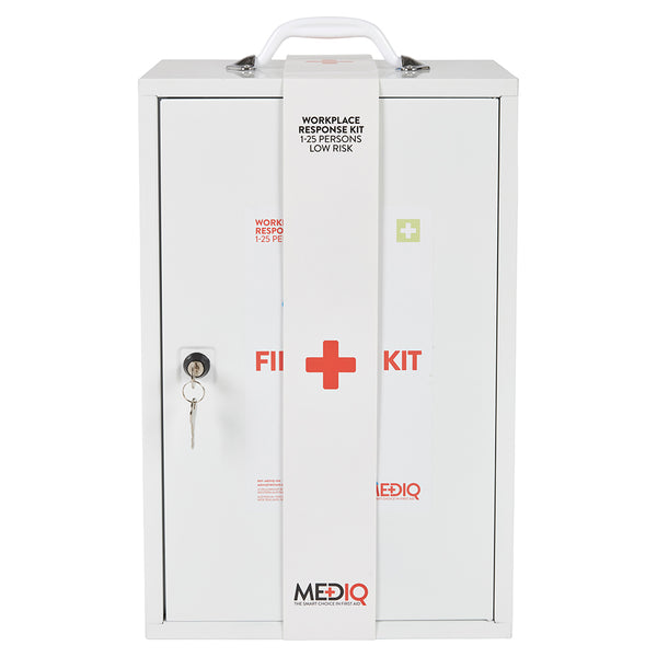 Mediq Essential First Aid Kit Workplace Response in White Metal Wall Cabinet Low Risk 1-25 Persons
