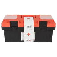 Mediq Essential First Aid Kit Workplace Response in Orange/Black Plastic Tackle Box 1-25 Persons Low Risk