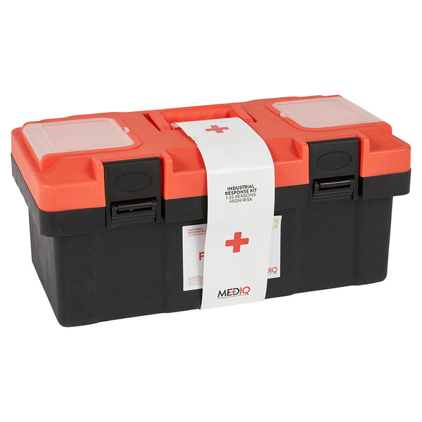 Mediq Essential First Aid Kit Workplace Response in Orange/Black Plastic Tackle Box 1-25 Persons High Risk