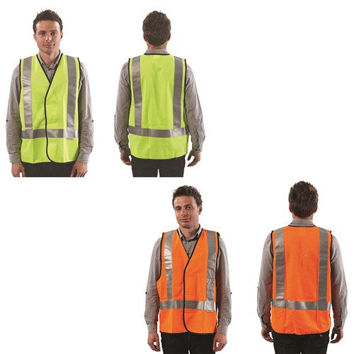 Hi Vis Safety Vest Day/Night with H Back Reflective Tape