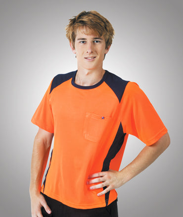 Blue Whale Cooldry Hi Vis Side Panel  T-Shirt Orange