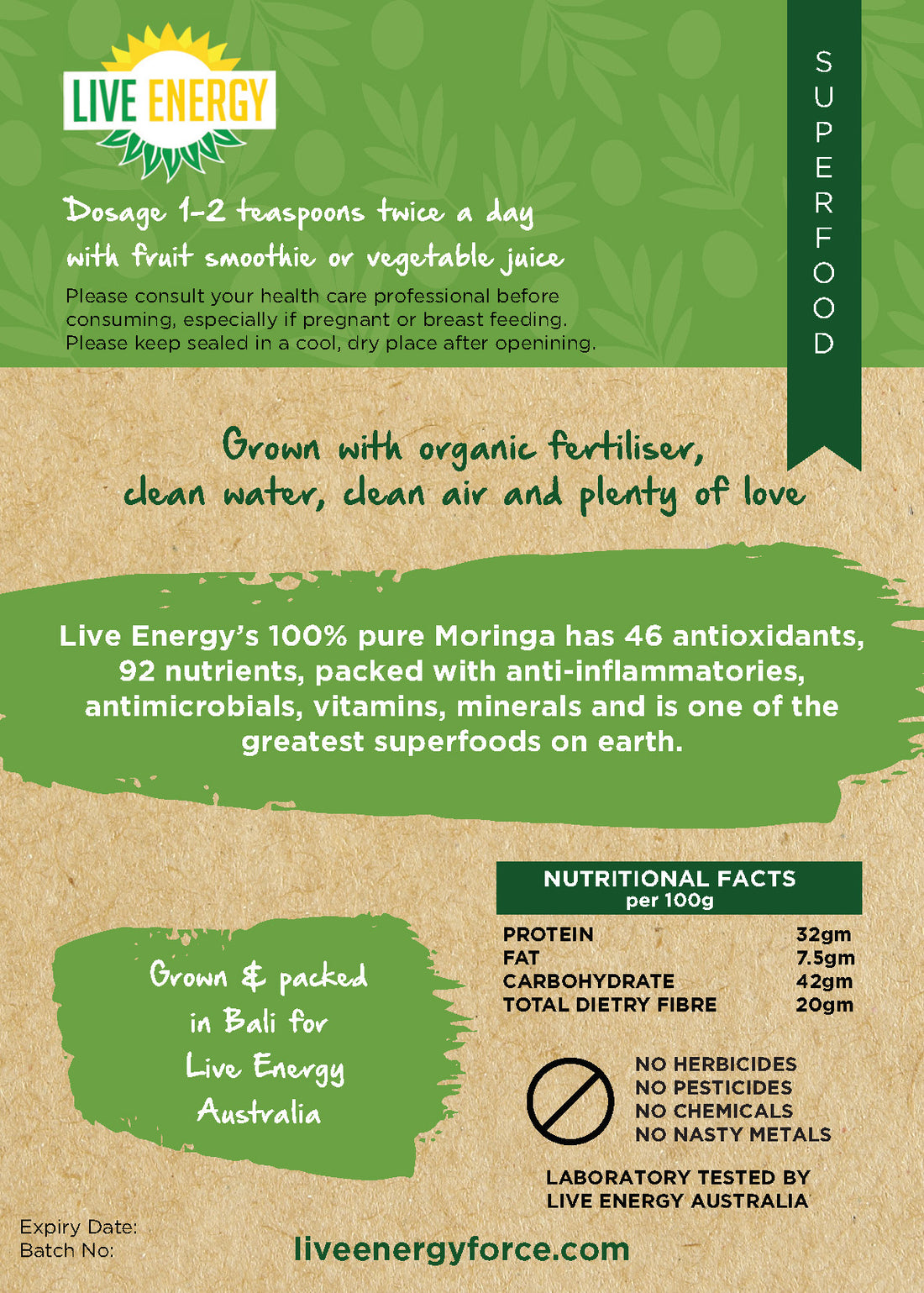 100%  Pure Raw Moringa Leaf Powder 200gm
