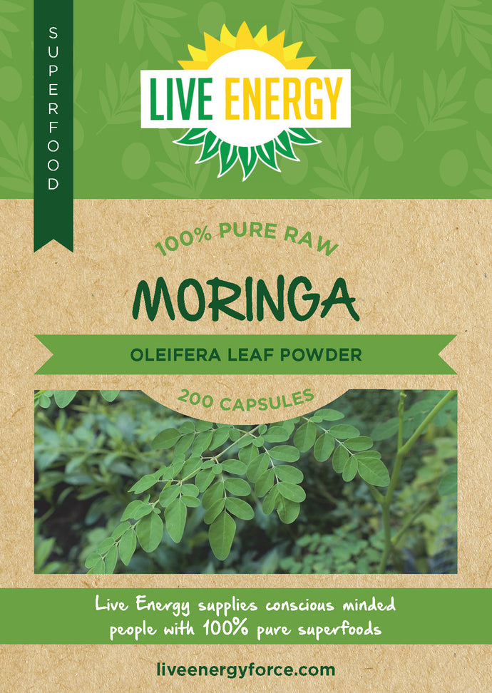 100% Pure Raw Moringa leaf, 200 capsules