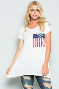 Tunic Top with Oversized American Flag Pocket