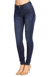 Solid Blue Skinny Jeans