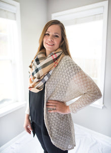 Plaid Print Fringed Scarf