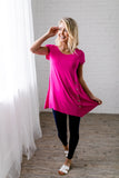 Asymmetrical Buttons Tunic In Hot Pink - In house