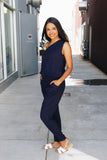 Bare Shoulder Navy Jumpsuit