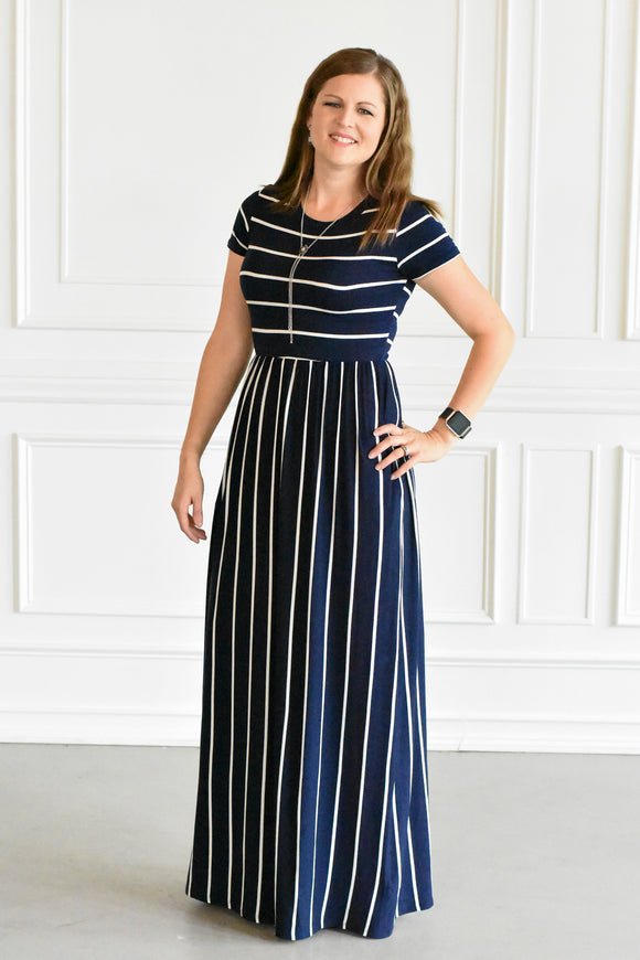 Striped Baby Doll Maxi Dress