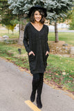 Brushed Melange V-Neck Sweater In Black
