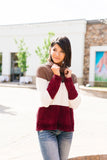 Chenille Color Block Turtleneck Sweater