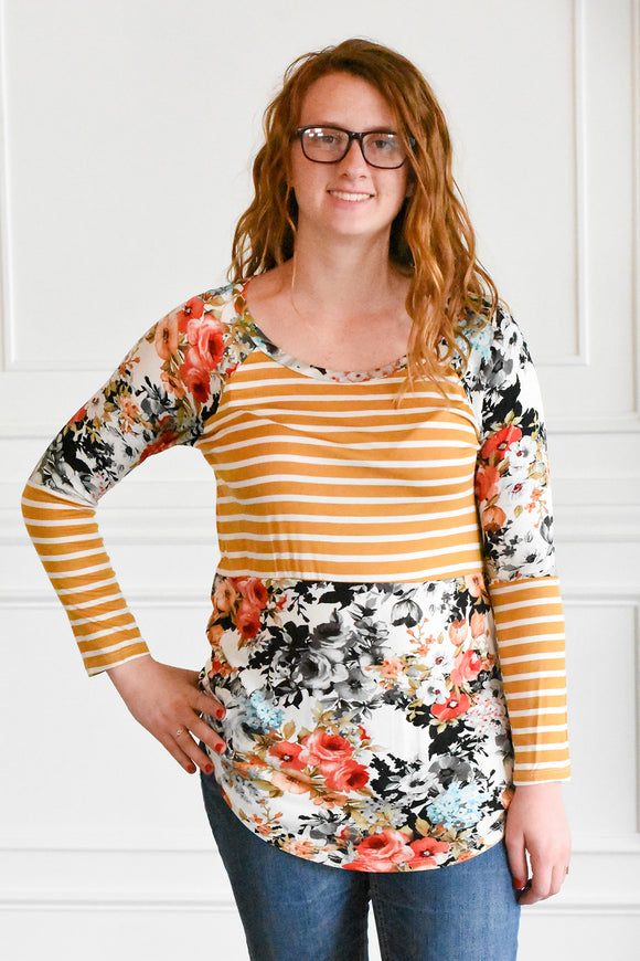 Striped Floral Tunic
