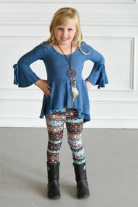 3 Piece Bell Sleeved Top and Leggings W/ Necklace