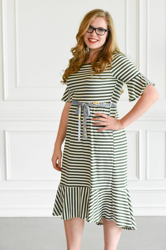 Striped Mermaid Hem Dress
