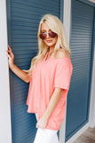 Heather Coral Pin-Tucked V-Neck Tee