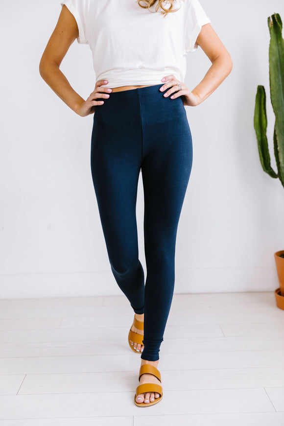 High Waist Leggings In Navy