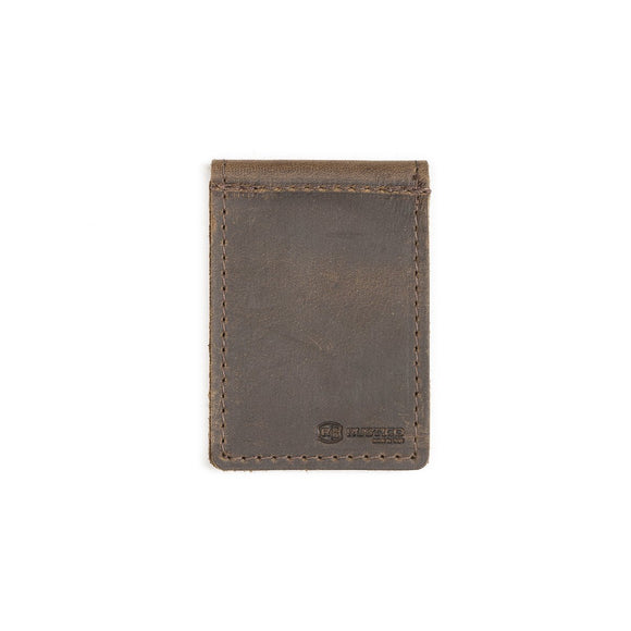 Money Clip Dark Brown Leather Wallet